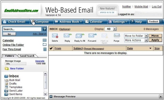 Web Mail provided by Email Address Store .com